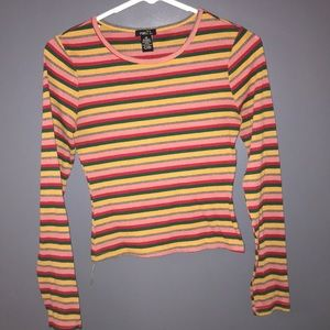 Stripped, cropped long sleeve